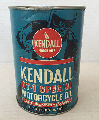 Full quart Kendall GT-1 Special Motorcycle Oil advertising can Pennsylvania NOS