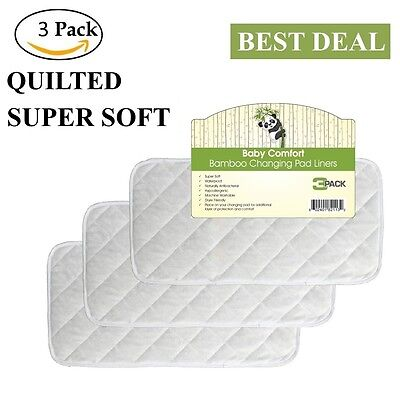 """Superior Quilted Bamboo Changing Pad Liners Reusable Waterproof 3 Pack 26""""x12.5"""""""