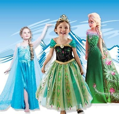 Disney Frozen Girls Inspired Princess Dress Anna Elsa Party Fancy Dress Costume