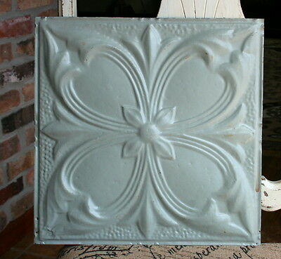 "12"" Antique Tin Ceiling Tile -- Gray Colored Paint -- Abstract Flower Design"