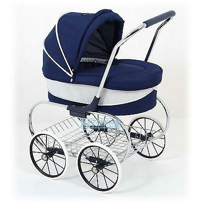 Valco Baby Just Like Mum Deluxe Princess Doll Pram Stroller Navy Pretend Role Pl