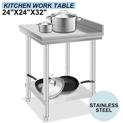 610x610mm New Stainless Steel Kitchen Work Food Prep Catering Table w/Backsplash