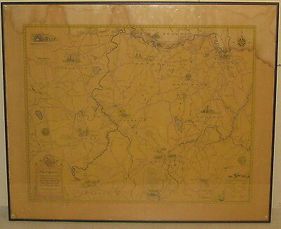Dwight Shepler 'Townships' Massachusetts PICTORIAL Map -Dedham Westwood Sherborn