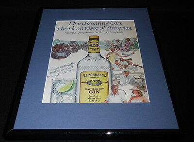 1984 Fleischmann's Gin Framed 11x14 ORIGINAL Vintage Advertisement C