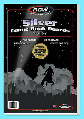 "100 BCW SILVER AGE SIZE COMIC BOOK BACKING BOARDS 7"" x 10-1/2"" Storage Backer"