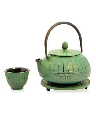 NEW The Berry Tea Shop Reflection Green Iron Teapot