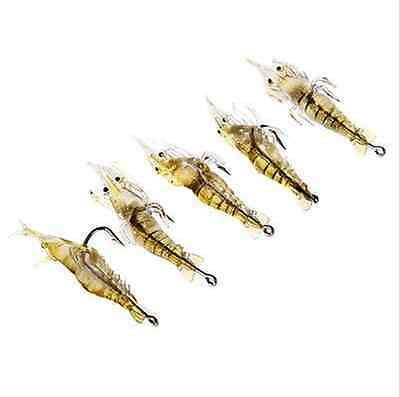 5 x 5cm Soft Prawn Shrimp Bait Spinner Sea Pike Trout Salmon Bass Lure Hook