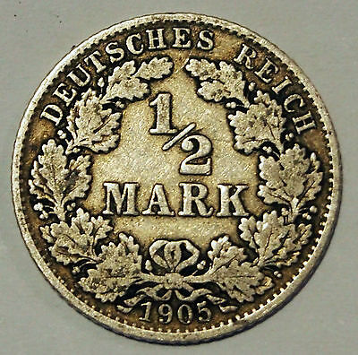 1905 'D' - Germany - 1/2 Mark Silver coin - average circulated condition