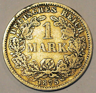 1875 'F' - Germany - 1 Mark Silver coin - average circulated condition