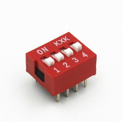 10PCS Red 2.54mm Pitch 4-Bit 4 Positions Ways Slide Type DIP Switch