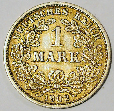 1902 'D' - Germany - 1 Mark Silver coin - average circulated condition
