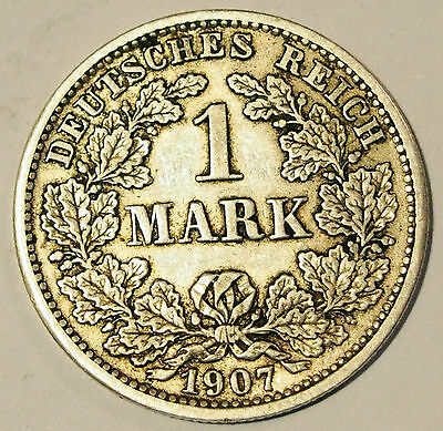 1907 'D' - Germany - 1 Mark Silver coin - average circulated condition