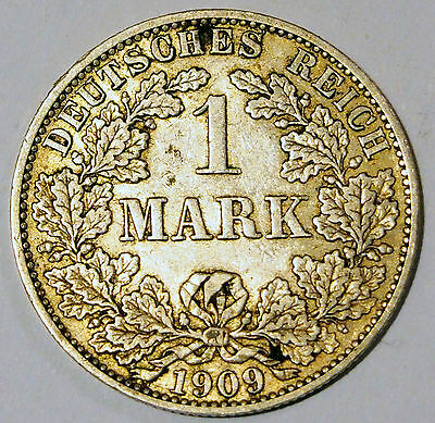 1909 'A' - Germany - 1 Mark Silver coin - average circulated condition