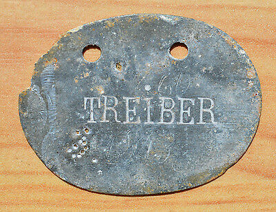 WW1 German Imperial Tag soldier Personal Badge with inicials