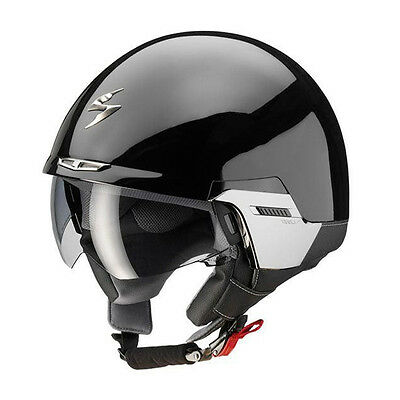 Scorpion EXO 100 Matt Black Motorcycle Motorbike Open Face Helmet Sun Visor