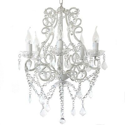 BEAUTIFUL SHABBY PARIS GLASS CRYSTAL CHANDELIER French White/Clear 5 ARM LIGHT