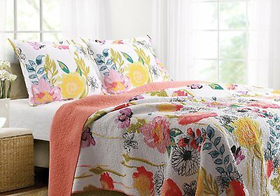 Greenland Home GL-1408AMSK 3-Piece Watercolor Dream Quilt Set- King- Multi NEW