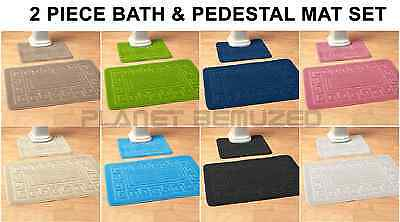 Non-Slip Rubber Backed 2 Piece Bath & Pedestal Bathroom Mat Set
