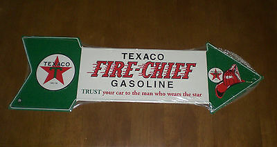 Texaco Fire - Chief Gasoline Arrow Tin Sign