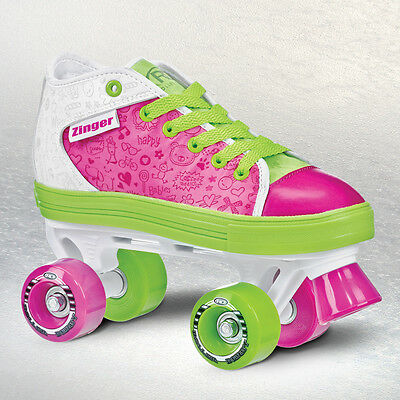Roller Derby Zinger Kids Girls Quad/Roller Skate US1 - US6 Pink/Lime