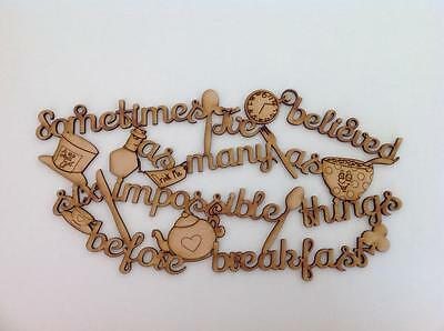 'Six impossible things' Alice/Mad Hatter Quote wooden shapes wooden sign. A150