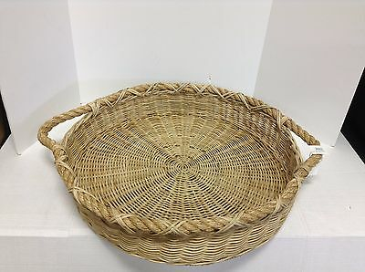 Pottery Barn Jacquelyne Woven Rattan Rope Handled Round Jute Serving tray Basket