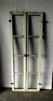 Pair Vintage Shabby Cottage Chic Windows Casement Sidelights Cabinet 767-16