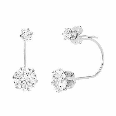 Silver-Tone Stainless Steel Cubic Zirconia 6 Prong Front and Back Duo Earring