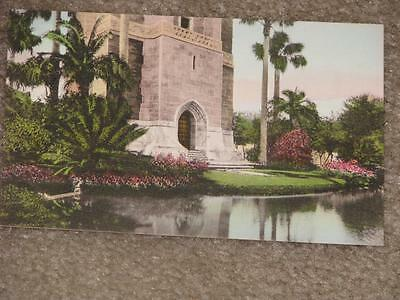 "Entrance to the ""Singing Tower"" Lake Wales, Fl., Hand Colored  vintage card"