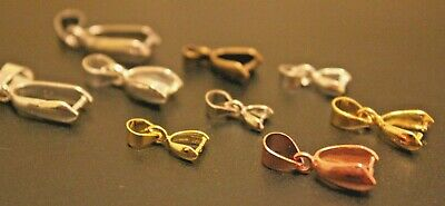 5 Pinch Clasps Clips Bails Connector Silver Bronze Gold Pendant Jewelry Findings