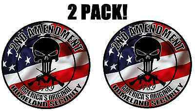 (2 Pack!) 2nd Amendment Punisher Skull American Flag Decal Sticker Gun Truck