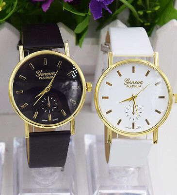Quartz Wrist Leisure Watch Geneva Wordtime Beautful Leather Lady Band Womens