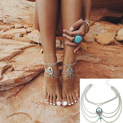 Boho Turquoise Barefoot Sandal Beach Anklet Foot Chain Jewelry Ankle Bracelet H