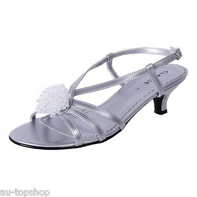 New Clarice Womens Dress Comfort Bridal Debutante Shoes Amber Silver Cheap