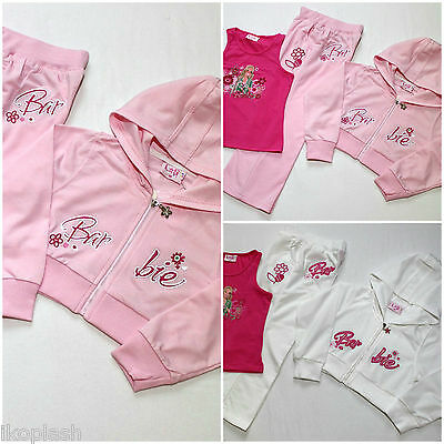 Girls Barbie Pink White 3 Piece Tracksuit Hoodie Vest Top Bottom Set 2-7 Years