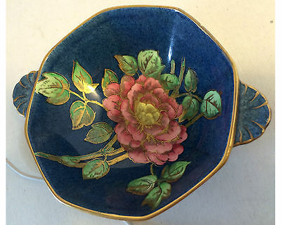 Vintage Maling Handled Bowl, Blue, With Large Pink Rose As Is