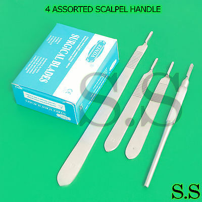 4 Assorted Scalpel Handle #3 + 100 Surgical Sterile Blades #10, #11,#12,#15