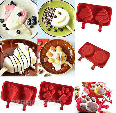 Ice Pop Popsicle Mold Maker Cream Frozen Molds Freezer Mould Lolly Silicone Set