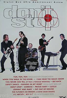 STATUS QUO 98 DON'T STOP 30th ANNIVERSARY PROMO POSTER ORIGINAL