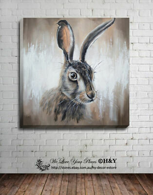 Cute Rabbit Stretched Canvas Print Framed Wall Art Home Office Decor Painting