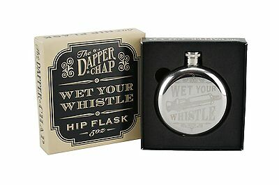 Gift Boxed Wet Your Whistle The Dapper Chap Stainless Steel Hip Flask -Mens Gift