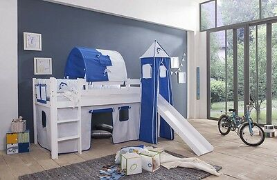 Curtain for High Bed Childrens Bed Play Bed or Eteganbett 4 Pce Naval New