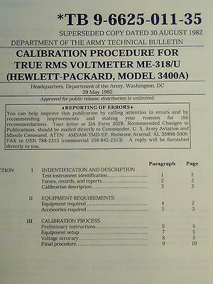 HP Hewlett Packard 3400A True RMS Meter Calibration Procedure Booklet