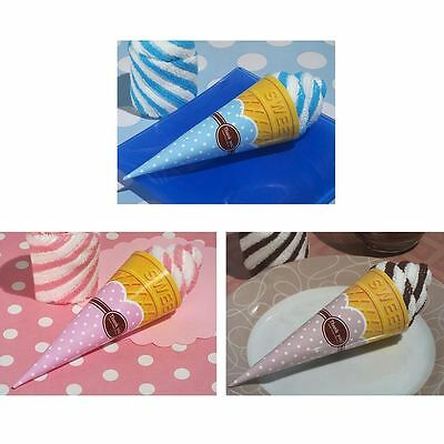 6 Chocolate Swirl Ice Cream Cone Towel Wedding & Party Bag Filler Favours Gifts