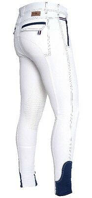 Offer!! Fair Play Rhett Mens/boys White Competition Breeches With Silicone Grip