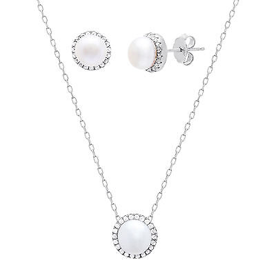 18K White Gold Sterling Silver CZ Freshwater Pearl Halo Pendant Earring Set