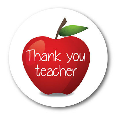 Thank you teacher - 'apple' - 60mm stickers - crafts, cards, shops - 36 in pack