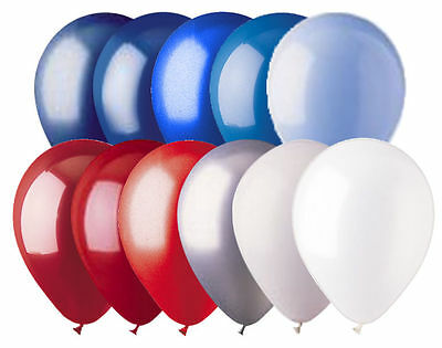 "12 - 12"" Solid Latex Balloons Patriotic Inspired Color Palette Red White & Blue"