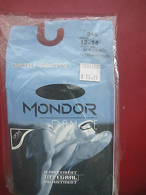 Mondor 345 Black Adult Footed Tights Dance Theater Ballet New Nylons size 12 -14