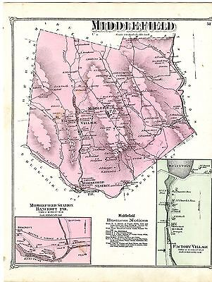 1873 Map of Middlefield, Hampshire County, Mass., from Beers Atlas - Original